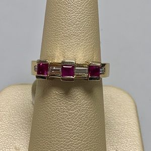 Jewelry - 14K Yellow Gold Ruby and Diamond Ring Size 6.5